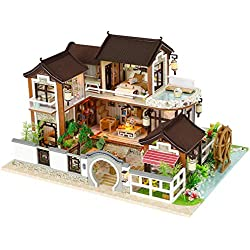 HEIRAO Kit Maison de poupée à Faire soi-même, Maison de poupée Chinoise Ancienne Jouet interactif pour la Famille, Bon Cadeau pour Votre Enfant
