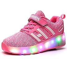 Meurry Kinder Roller Schuhe Skates Schuhe LED Skatesboard Schuhe Roller Skate Schuhe mit Rädern Licht Single Wheel Sportschuhe Jungen Mädchen (30 EU,Blau)