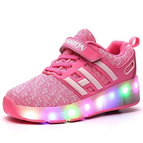 Meurry Unisex Schuhe mit Rollen Kinder Skateboard Schuhe Rollschuh Schuhe LED Light Wheels Sneakers Outdoor-Trainer für Junge Mädchen (36 EU, EIN Rad/Rosa)