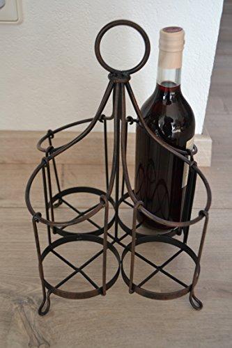 Flaschenkorb- hübscher Korb für 4 Flaschen aus Metall-stabile Ausführung