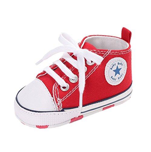 Foto de Auxma Zapatos Para Bebé Zapatilla de Deporte Antideslizante del Zapato de Lona de La Zapatilla de Deporte Para 3-6 6-12 12-18 M (3-6 M, Rojo)