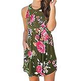 MRULIC Frauen Beiläufiges Blumenärmeliges Blusen Kleider Minikleid mit Taschen(Grün,EU-42/CN-XL)