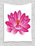 XHFITCLtd Lotus Tapestry, Vibrant Lotus Flower Pattern Spa Zen Yoga Asian Balance Energy Lifestyle Artsy Image, Wall Hanging for Bedroom Living Room Dorm, 60 W X 80 L Inches, Magenta Red