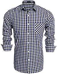 Coofandy Camisa Casual a Cuadros Manga Larga para Hombre Vestir