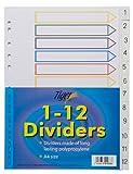1–12numerato deposito oggetto divisori Tabbed Ringbinder cartella Index (4confezioni)