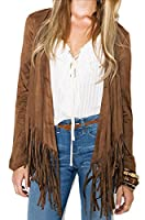 Generic Womens Long Sleeve Tassel Hem Open Front Autumn Coat Cardigan As picture XS