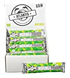 ATLANTIS Bio Rohkost Riegel 40g mit MORINGA im 25er Pack - vegan, glutenfrei, roh, raw - 25 Stück / 25 x 40g - Moringariegel für Sportler