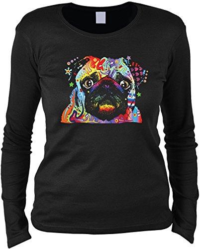 Pug modisches Damenshirt mit Hunde Motiv: - Mädchen Frauen Geschenk Weihnachten Geburtstag Rundhals Mama Schwarz