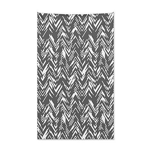 ABAKUHAUS Schwarz und weiß Wandteppich und Tagesdecke, Chaotischer Chevron aus Weiches Mikrofaser Stoff Kein Verblassen Klare Farben Waschbar, 140 x 230 cm, Weiß Schwarz (Schwarz Weiß Chevron Und Tagesdecke)