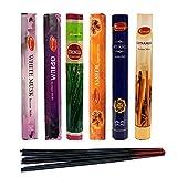 Aromatika Best Seller hexa Combo Pack 'D' (6scatole x 20bastoncini = 120bastoncini di incenso alla citronella, Opium, muschio bianco, ambra, Mirra, cannella