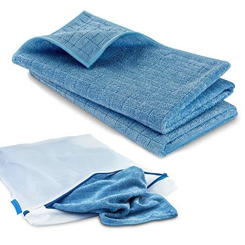 POLYCLEAN 2x Bodentuch - Saugstarkes Trockentuch aus Microfaser (55 x 50 cm, Blau, 2 Stück) - Reinigungstuch mit hoher Aufnahmekapazität inklusive 1x gratis Wäschesack (38 x 30 cm)