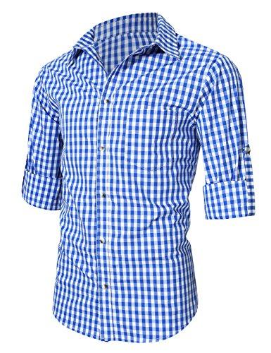 KoJooin Trachten Herren Hemd Trachtenhemd Langarmhemd Freizeithemd Baumwolle - für Oktoberfest, Business, Freizeit (Blau M) - 2