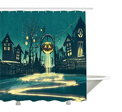 orhang, Halloween Theme Night Kürbis und Haunted House Ghost Town kunstvollen Design Print, Stoff Badezimmer Dekor Set mit Haken, Türkis Orange ()