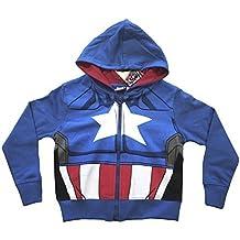 Oficial de los Vengadores Capitán América niños superhéroe con cremallera Sudadera con capucha para niños tamaños