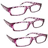 La Compañía Gafas De Lectura Rosa Concha Ligero Cómodo Lectores Valor Pack 3 Estilo Diseñador Hombres Mujeres UVR3PK032PK Dioptria +2,00