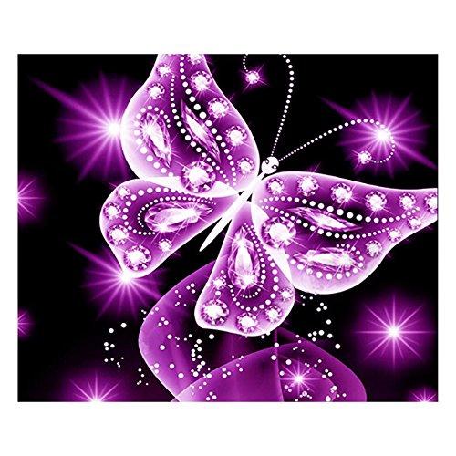 Diamond Painting,YOun Butterfly 5D Full Diamond Painting Embroidery DIY Cross Stitch Decor(Purple