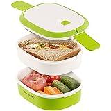 Rosenstein & Söhne Brotdose: Lunchbox mit 2 Etagen und Tragegriff, Clip-Deckel, BPA-frei, 700 ml (Frischhaltedosen)