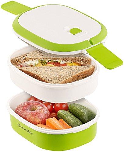 Rosenstein & Söhne Brotdose: Lunchbox mit 2 Etagen und Tragegriff, Clip-Deckel, BPA-frei, 700 ml (Dose)