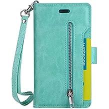 Sunny&Baby Flip para el iPhone 6 y 6s de moda de lujo cartera Shell bolsa 9 ranuras de tarjetas de cuero PU cubierta de cuero con cremallera Lanyard Kickstand Antideslizante ( Color : Green )
