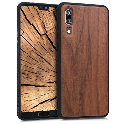 kwmobile Holz Schutzhülle für Huawei P20 - Hardcase Hülle mit TPU Bumper Walnussholz in Dunkelbraun - Handy Case Cover