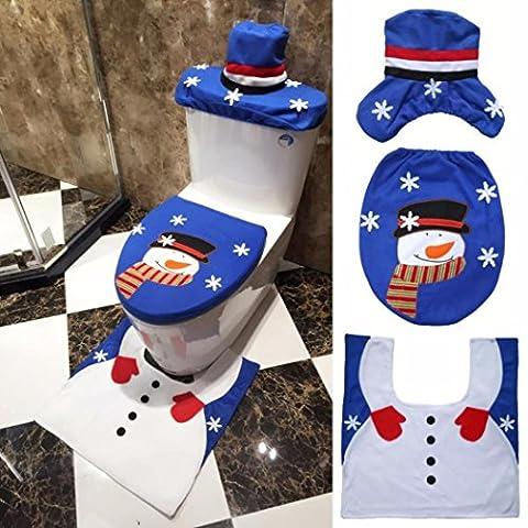 Weihnachtsschmuck, elevin (TM & # xff09; Fancy Santa WC-Sitz Bezug und Teppich Badezimmer Set Christmas Decor, blau