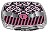 Rikki Knight Compact Mirror, Letter t Initial Light Pink Damask and Stripes