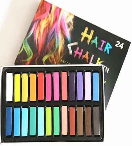 MULTI 24 Piece Sexy Ladies Girls Temporary Hair Chalk Dye Soft Pastel Women Colour Kit