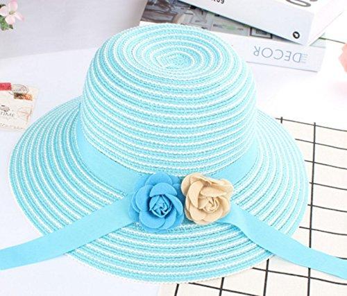 2017 La Version Coréenne Nouveau Chapeau De Fleurs Rayé Dayan Mao Dame Chapeau De Paille Chapeau D'été Casquettes Pêcheur Skyblue