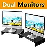 RFIVER Supporto Tavola per Monitore Altoparlante del TV PC e Computer Portatile Supporto per Monitor L420 x L235 x H80 mm Confezione da 2 Nero CM1006