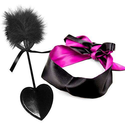 Flirten Peitsche Feather Tickler Leder Gerte Hand spanking mit Satin Augenbinde Eye Bezug Schlafmaske Block Licht für Frauen Mann (2in 1)