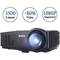 Videoproiettore,WiMiUS T4 Upgraded 3500 lumen Full HD LED Proiettore Supporto 1080p Home cinema Multimedia Proiettore per iPhone Smartphone Tablet PC Computer con TV/AV/VGA/USB/HDMI (Nero)
