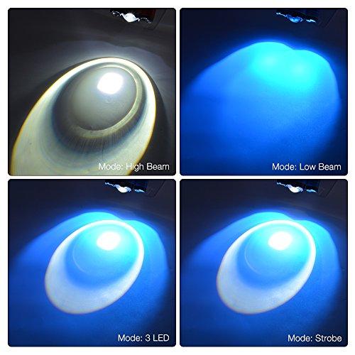Sunix® 2200 lumenes  faros LED enfocables con luces rojas Como banco de la energía 4400mAh   4 Modos de luz con silbato SOS perfecto para Correr  Campamento  lectura  ir de excursión  + 2 baterias recargables 18650 + Cable Micro USB incluido (Azul).