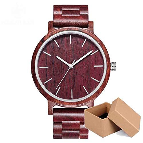 Vintage Zebra Holz Uhr MäNnlichen Sport Einfache Holz Armbanduhr Quarz Mann Mit Alle Zebra Bambus Band Uhr MäNner B90G-Red-Box
