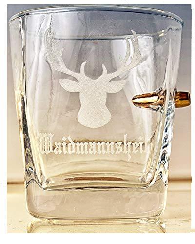 Jäger Geschenk-Trink Glas mit Geschoß cal.308 und Gravur -Waidmannsheil-Optional mit Wunschname