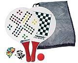 Schildkröt Beachball Set Spiele, 2 Schläger aus Holz mit Spielfeldern bedruckt, 2 Bälle, inklusive Spielfiguren und Würfel, verschiedene Farben wählbar, in wiederverschließbarer Netztasche