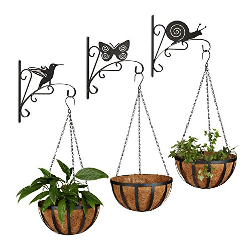 6 tlg. Blumen Set, 3 Blumenhaken mit Tier-Motiven, Blumenampel, 3 Hängekörbe, Wandhaken, Pflanzenhalter, Wandhalterung -