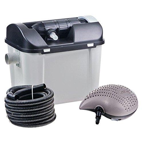 HEISSNER FPU7000-00 Mehrkammer-Teichfilter 40 x 30 cm mit integriertem 7 Watt UVC-Teichklärer; inklusiv 3100 Liter Pumpe