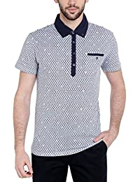 Dream Of Glory Inc. Men's Branded Half Sleeve Geo Printed Cotton Polo Neck Buttoned Collar And Pocket In Plus...