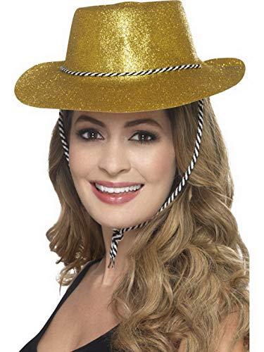 Luxuspiraten - Kostüm Accessoires Zubehör Damen Herren Western Glitzer Cowboy Cowgirl Hut mit Kordel, perfekt für Karneval, Fasching und Fastnacht, Gold