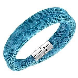 Swarovski Stardust Double Bracelet Colour Aqua Blue Chocker Necklace Size Small 38 Centimetres Ref 5139744 Palladium Plated
