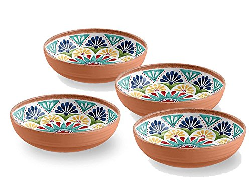 Terracotta Mediterraner Stil Melamin Picknick/Barbecue/Buffet Outdoor Esstisch Fruit Salat/Müslischale/Suppenteller/Pastateller Schüssel – Set von 4