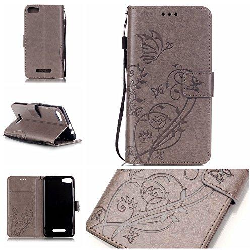 Ooboom® Wiko Sunset 2 Hülle Prägen Schmetterling Blume Flip PU Leder Tasche Case Cover Brieftasche Magnetverschluss für Wiko Sunset 2 - Grau
