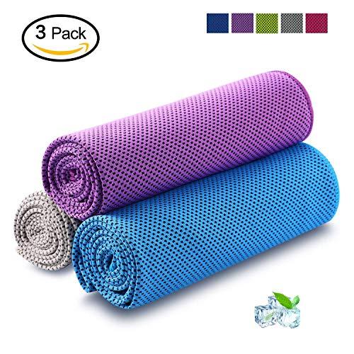 HandtüCher Schnelltrocknende Kühltuch Mikrofaser Sporthandtuch Strandhandtuch Cooling Towel für Yoga Fitness Golf Tennis & Sports 3 Stücke(violett, blau, grau,100x30cm)