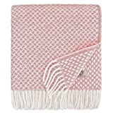 Linen & Cotton Schöne Warme Decke Wolldecke Wohndecke Kuscheldecke Sofia - 100% Reine Neuseeland Wolle, Rosa/Pink (130 x 170cm) Sofadecke/Überwurf Decke/Plaid Couch Sofa/Schurwolle Blanket