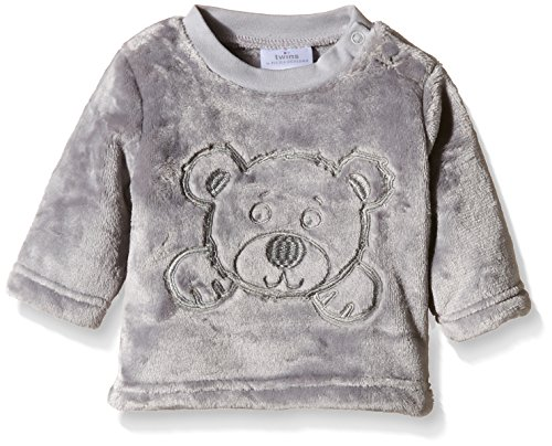 Twins Unisex Baby Fleecepullover mit Bärchen-Stickerei, Gr. 80, Grau (Sleet 163916)
