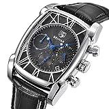 Luxus Analog Quarz Chronograph Herren Uhren Classic Rechteck Wasserdicht Datum Armbanduhr mit Leder in Silber Schwarz