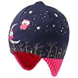 Maximo Owls Kinder Inkamütze Mütze Kindermütze Ohrenmütze Strickmütze Wintermütze Strickmütze Wintermütze (53 cm - blau)