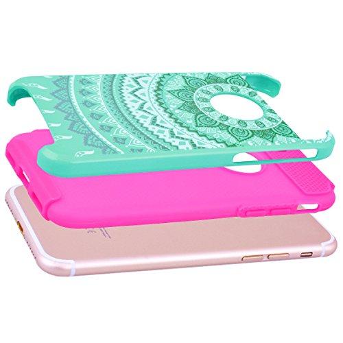 "WE LOVE CASE iPhone 7 / iPhone 8 Hülle Blumen Mandala Wabe 2 in 1 iPhone 7 / iPhone 8 4,7"" Hülle Minze Grün Schutzhülle Handyhülle Handytasche Handycover PC Harte Case Anti-Scratch Handy Tasche Schale Mint green + rose red"