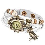 Taffstyle Damen-Armbanduhr Analog Quarz mit Leder-Armband Geflochten Charms Anhänger Uhr Retro Vintage Eule Gold Weiß