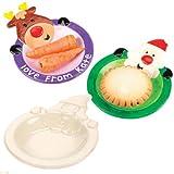 Porzellanteller Weihnachtsmann und Rentier zum Basteln in der Weihnachtszeit für Jungen und Mädchen (2 Stück)